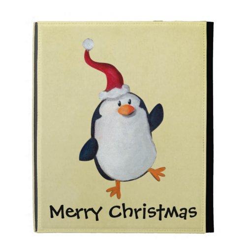 Cute Christmas Penguin iPad Folio Covers