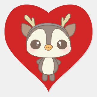 cute christmas penguin reindeer character sticker