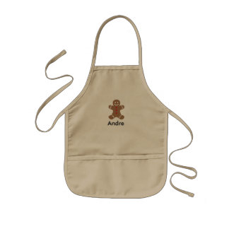 Cute Christmas Personalized Gingerbread Man Kids Apron
