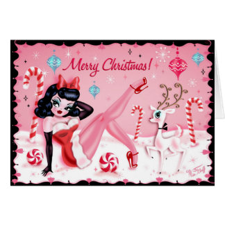 Cute Christmas Pinup Doll Cards by Miss Fluff