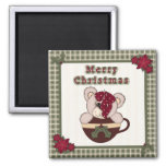 Cute Christmas Plaid Pattern Border & Teddy Bear