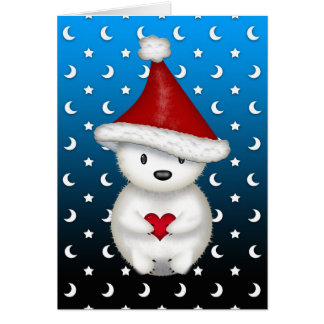 Cute Christmas Polar Bear holding Heart Card