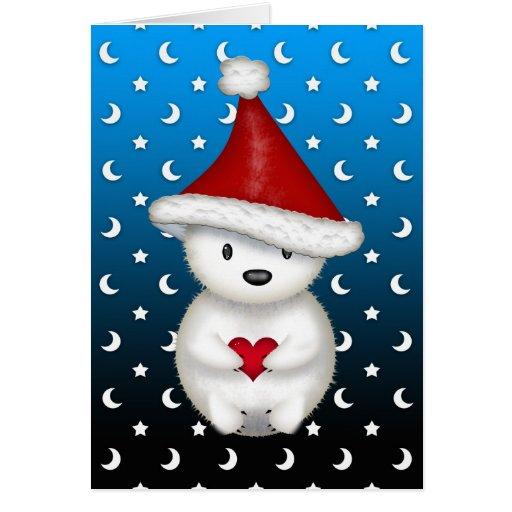 Cute Christmas Polar Bear holding Heart Cards