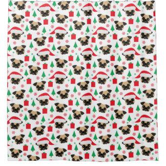 Cute Christmas Pug Shower Curtain