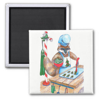 Cute Christmas Raccoon Culinary Chef Designed Magnet