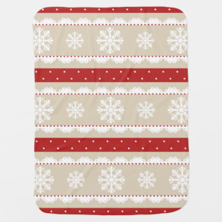 Cute Christmas Red Polka Dots White Snowflakes Baby Blanket