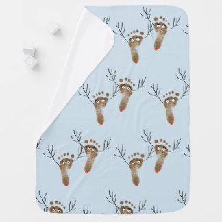 Cute Christmas Reindeer baby foot prints Baby Blanket