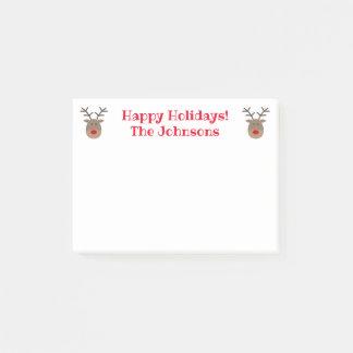 Cute Christmas reindeer custom Holiday Post-it Notes