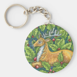Cute Christmas Reindeer in Forest with Holly Basic Round Button Key Ring