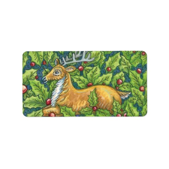 Cute Christmas Reindeer in Forest with Holly Label