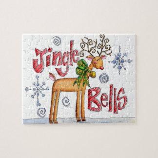 Cute Christmas Reindeer, Jingle Bells Snowflakes Jigsaw Puzzle