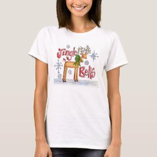 Cute Christmas Reindeer, Jingle Bells Snowflakes T-Shirt