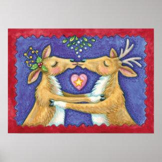 Cute Christmas Reindeer, Romantic Kiss w Mistletoe Poster