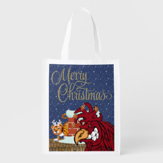 Cute Christmas Rooster, Tiger, Beach Grocery Tote