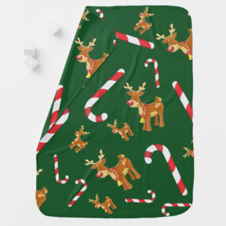 Cute Christmas Rudolph Candy Cane Pattern Green Baby Blanket