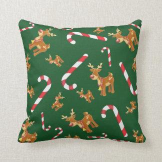 Cute Christmas Rudolph Candy Cane Pattern Green Cushion