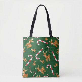 Cute Christmas Rudolph Candy Cane Pattern Green Tote Bag