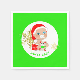 Cute Christmas Santa Baby Personalised Paper Serviettes
