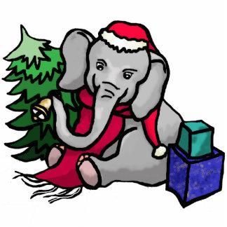 Cute Christmas Santa Cartoon Elephant Photo Sculpture Magnet