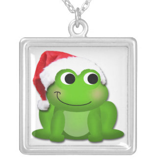 Cute Christmas Santa Hat Froggy Necklace