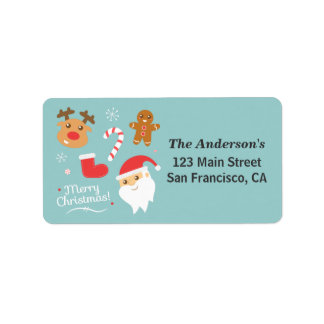 Cute Christmas - Santa, Reindeer, Gingerbread Man Label