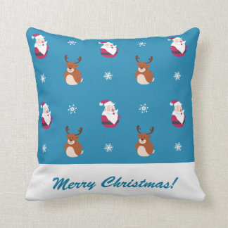 Cute Christmas Santa & Rudolph Pillow