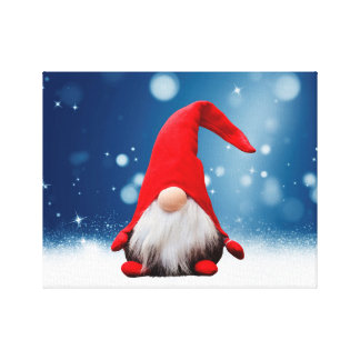 Cute Christmas Santa Snow Stars Gallery Wrapped Canvas
