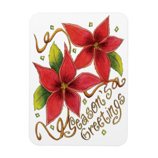 Cute Christmas Season's Greetings with Poinsettias Rectangular Photo Magnet