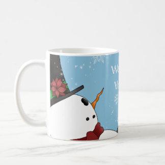 Cute Christmas snowman and snowflakes Basic White Mug