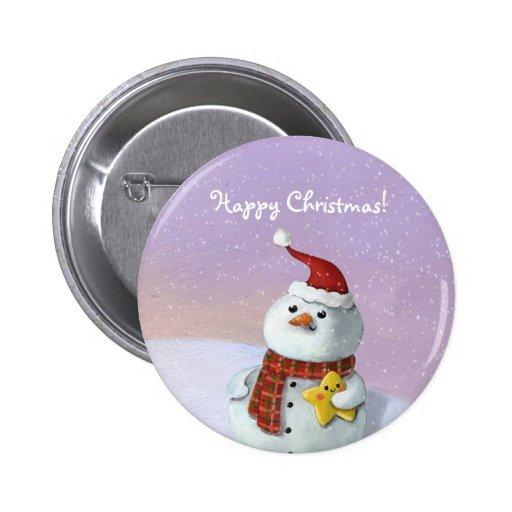 Cute Christmas Snowman Pinback Buttons
