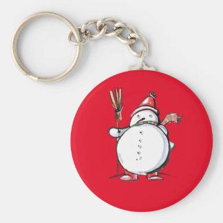 Cute Christmas Snowman Basic Round Button Key Ring