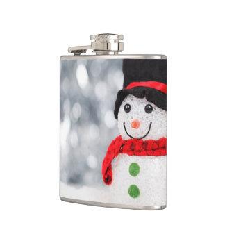 Cute Christmas Snowman Bokeh Flask