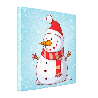 Cute Christmas Snowman Stretched Canvas Prints