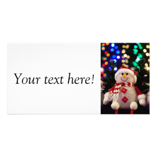 Cute Christmas snowman decoration Photo Greeting Card