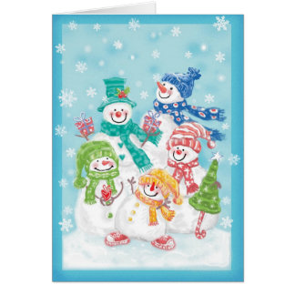 Cute Christmas Snowman Family in the Snow Card
