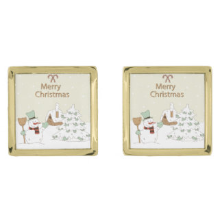 Cute Christmas Snowman Gold Finish Cuff Links