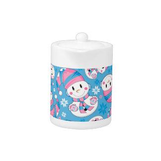 Cute Christmas Snowman Teapot