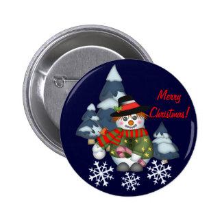 Cute Christmas Snowman & Text button