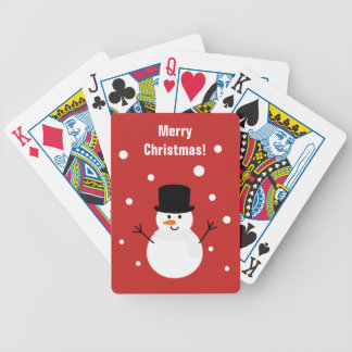 Cute Christmas Snowman Winter Festive Holiday Snow Bicycle Playing Cards