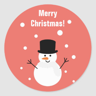 Cute Christmas Snowman Winter Festive Holiday Snow Classic Round Sticker