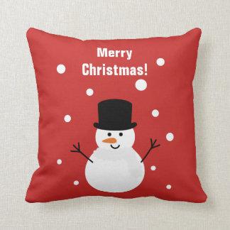 Cute Christmas Snowman Winter Festive Holiday Snow Cushion