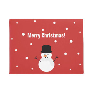 Cute Christmas Snowman Winter Festive Holiday Snow Doormat
