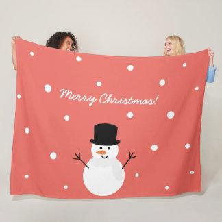 Cute Christmas Snowman Winter Festive Holiday Snow Fleece Blanket