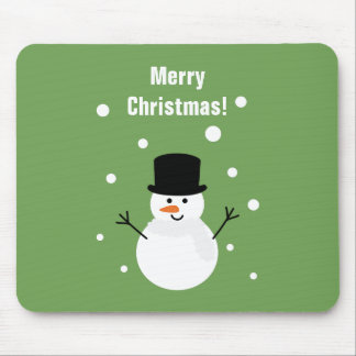 Cute Christmas Snowman Winter Festive Holiday Snow Mouse Pad