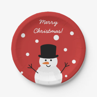 Cute Christmas Snowman Winter Festive Holiday Snow Paper Plate