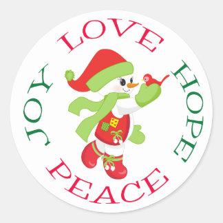 Cute Christmas Snowman with Bird Classic Round Sticker