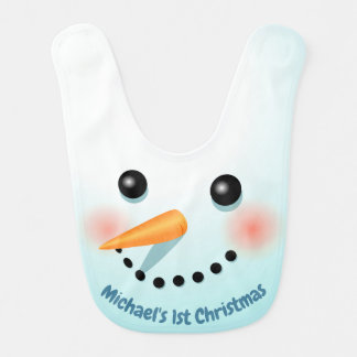 Cute Christmas Snowman With Carrot Nose Bib