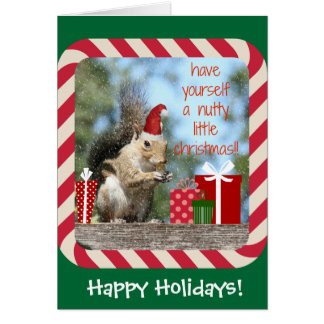 Cute Christmas Squirrel, Have a Nutty Xmas!! Greeting Card