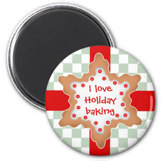 Cute Christmas star cookie I love holiday baking Magnet