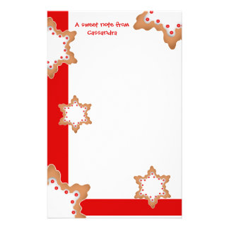 Cute Christmas star cookies Stationery Paper